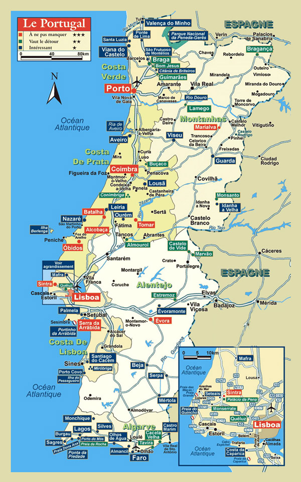 Detailed tourist map of Portugal. Portugal detailed tourist map.