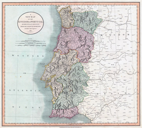Large detailed old map of Kingdom of Portugal with relief, roads and cities - 1801.