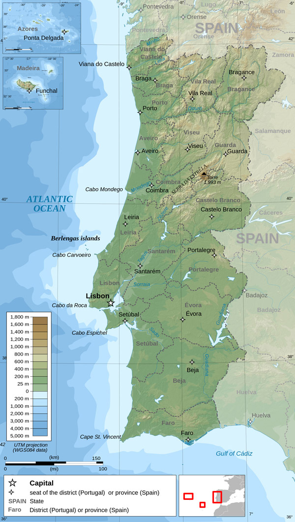 Large detailed physical map of Portugal. Portugal large detailed physical map.