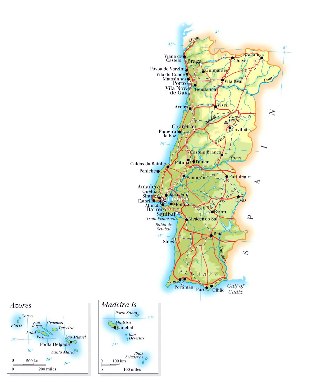 Large Elevation Map Of Portugal With Roads Cities And Airports - Portugal map with airports