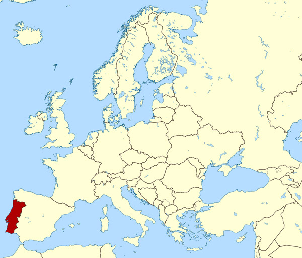 Large location map of Portugal. Portugal large location map.