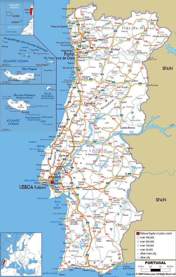 Large road map of Portugal with cities and airports.