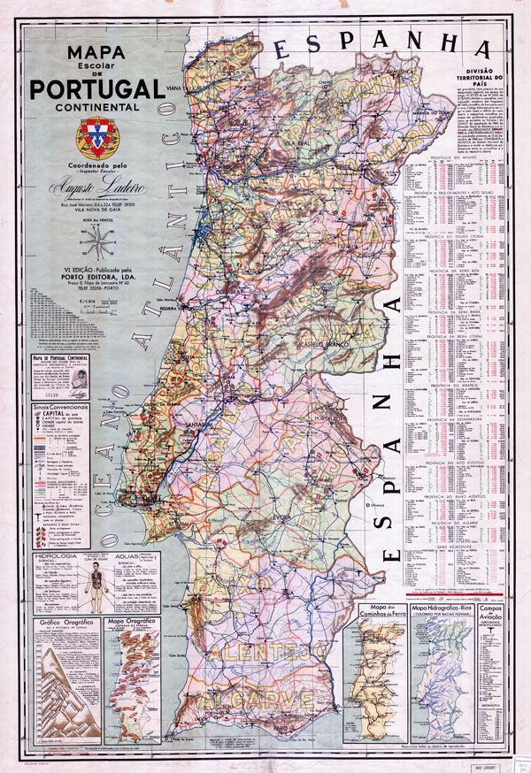 Large scale detailed school map of Portugal - 1962.