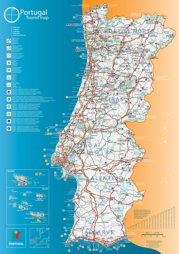 Large scale tourist map of Portugal. Portugal large scale tourist map.