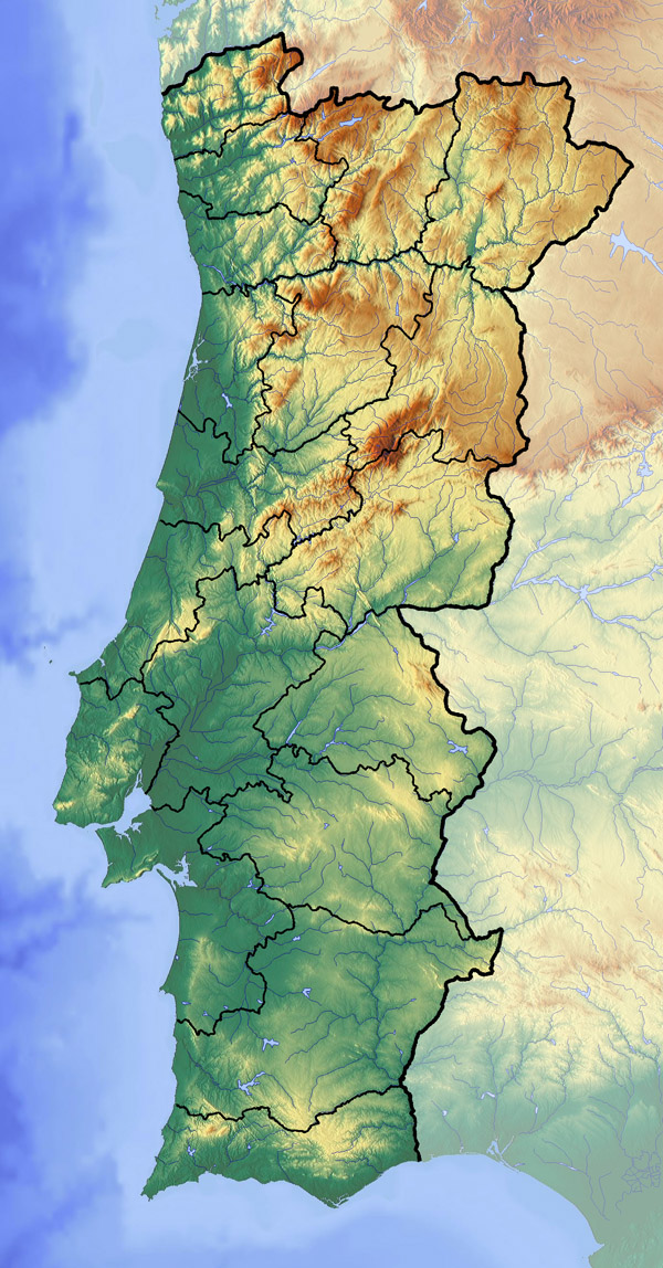 Large topographical map of Portugal. Portugal large topographical map.