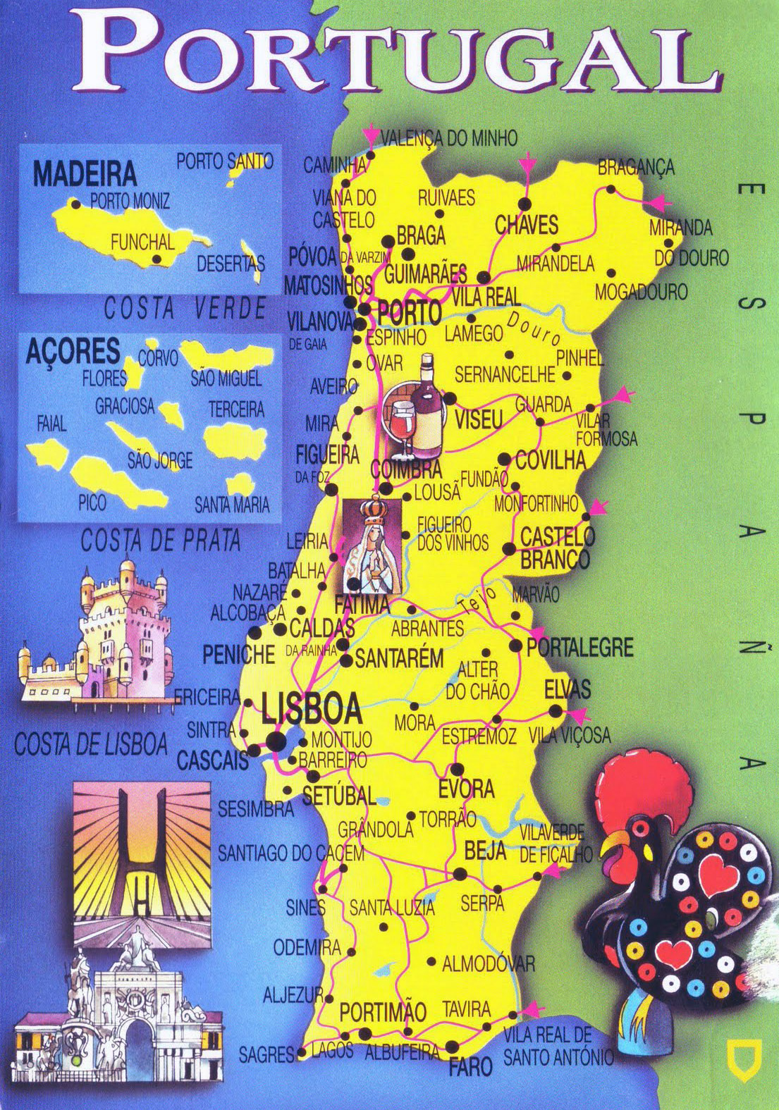 Large Tourist Map Of Portugal Portugal Large Tourist Map - Portugal map physical
