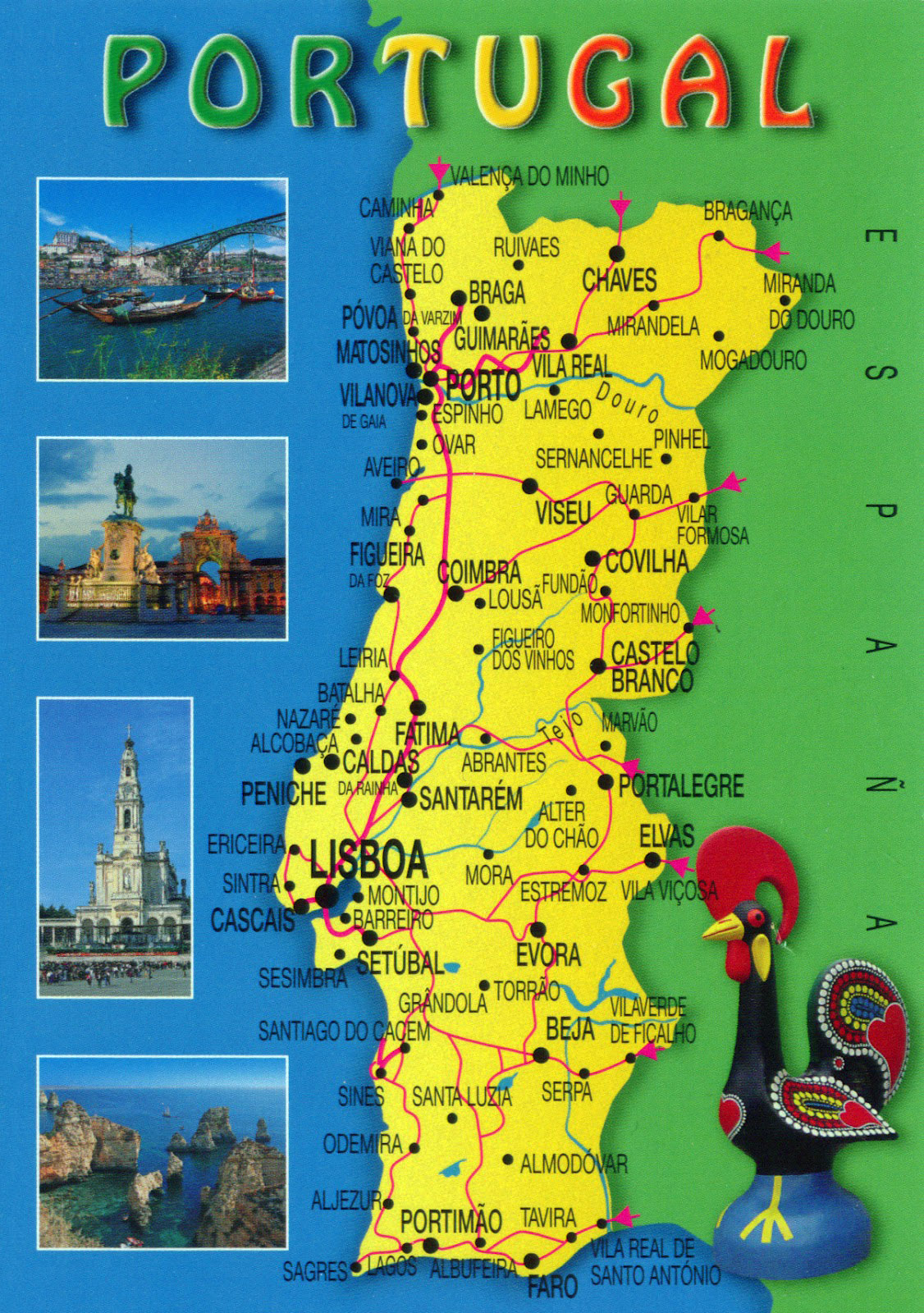 Large travel map of Portugal Portugal large travel map Vidiani
