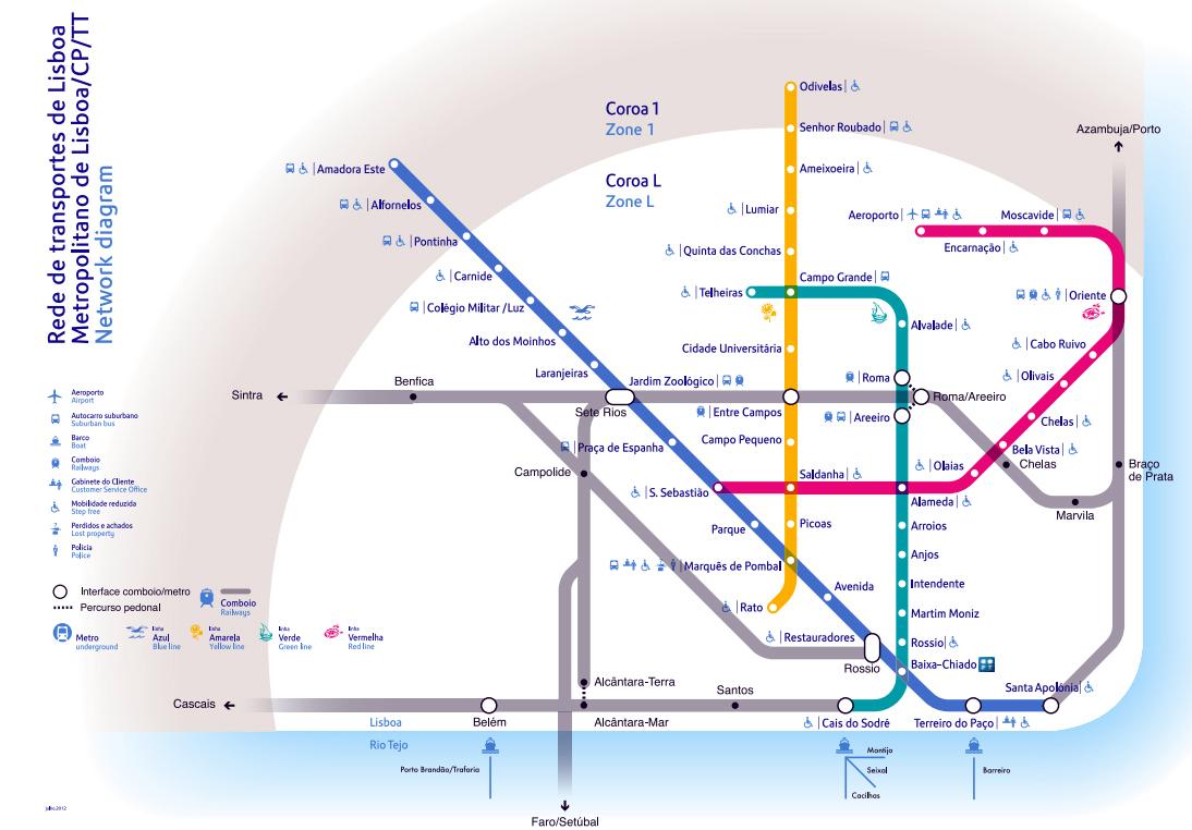 Detailed metro map of Lisbon Lisbon detailed metro map Vidiani