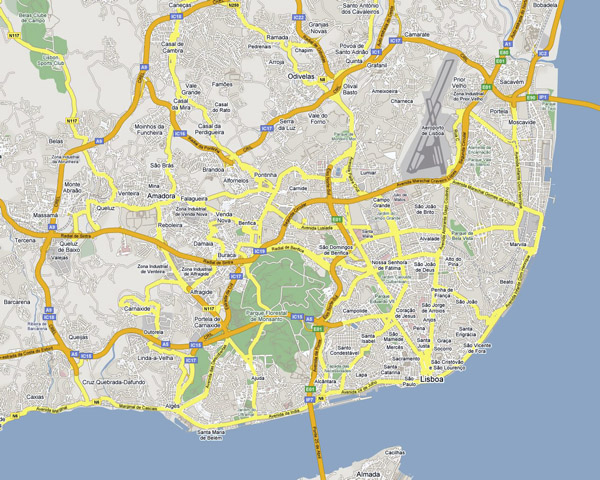 Detailed road map of Lisbon. Lisbon city detailed road map.
