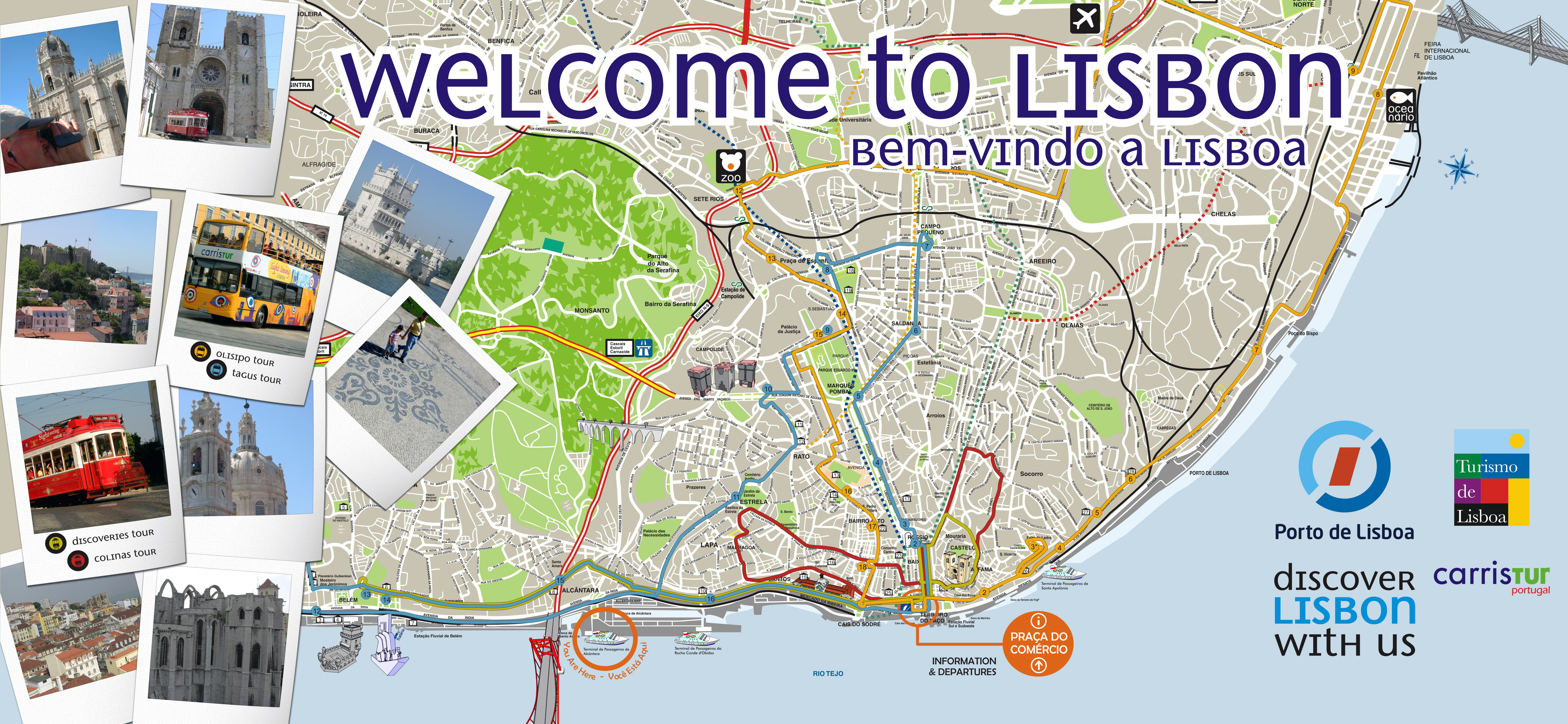Large detailed tourist map of Lisbon Vidianicom Maps of all