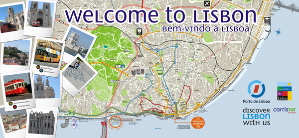 Large detailed tourist map of Lisbon.