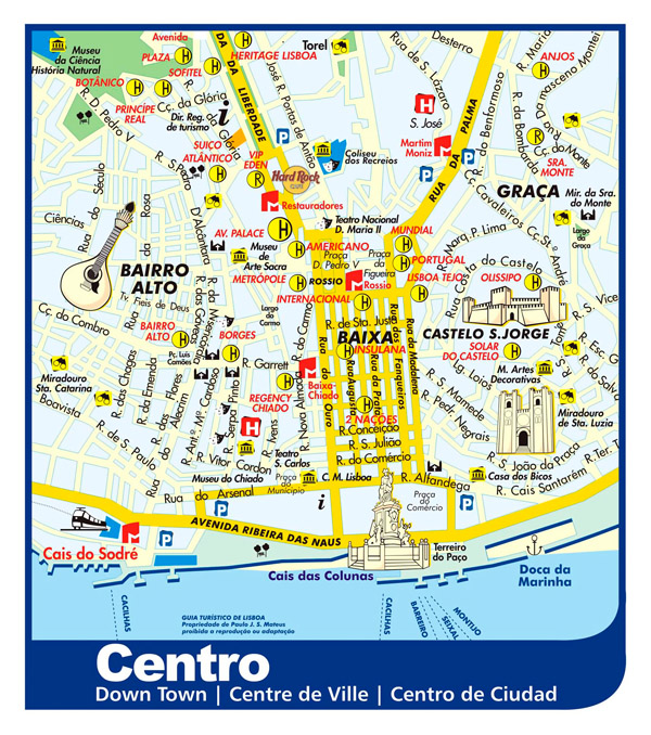 Large detailed tourist map of Lisbon city downtown.