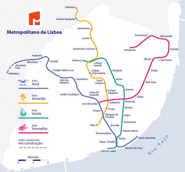 Large metro map of Lisbon city. Lisbon large metro map.
