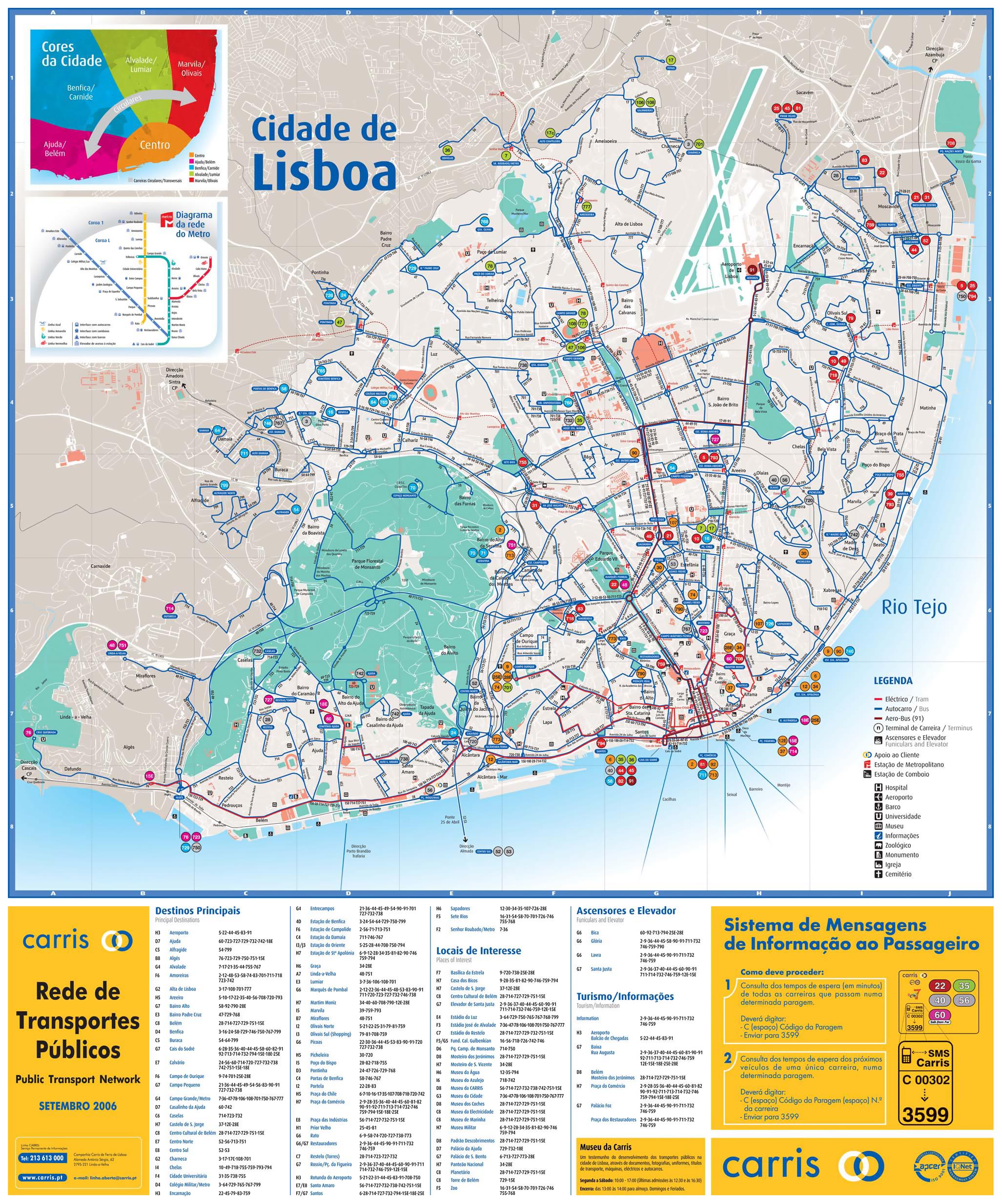 Large public transport map of Lisbon city Vidianicom Maps of