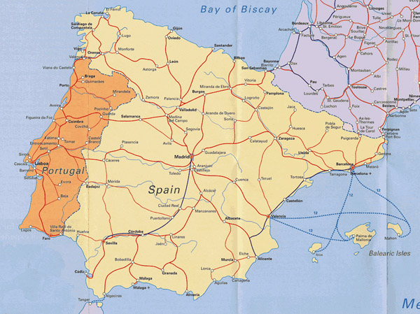 Road map of Portugal and Spain. Portugal and Spain road map.
