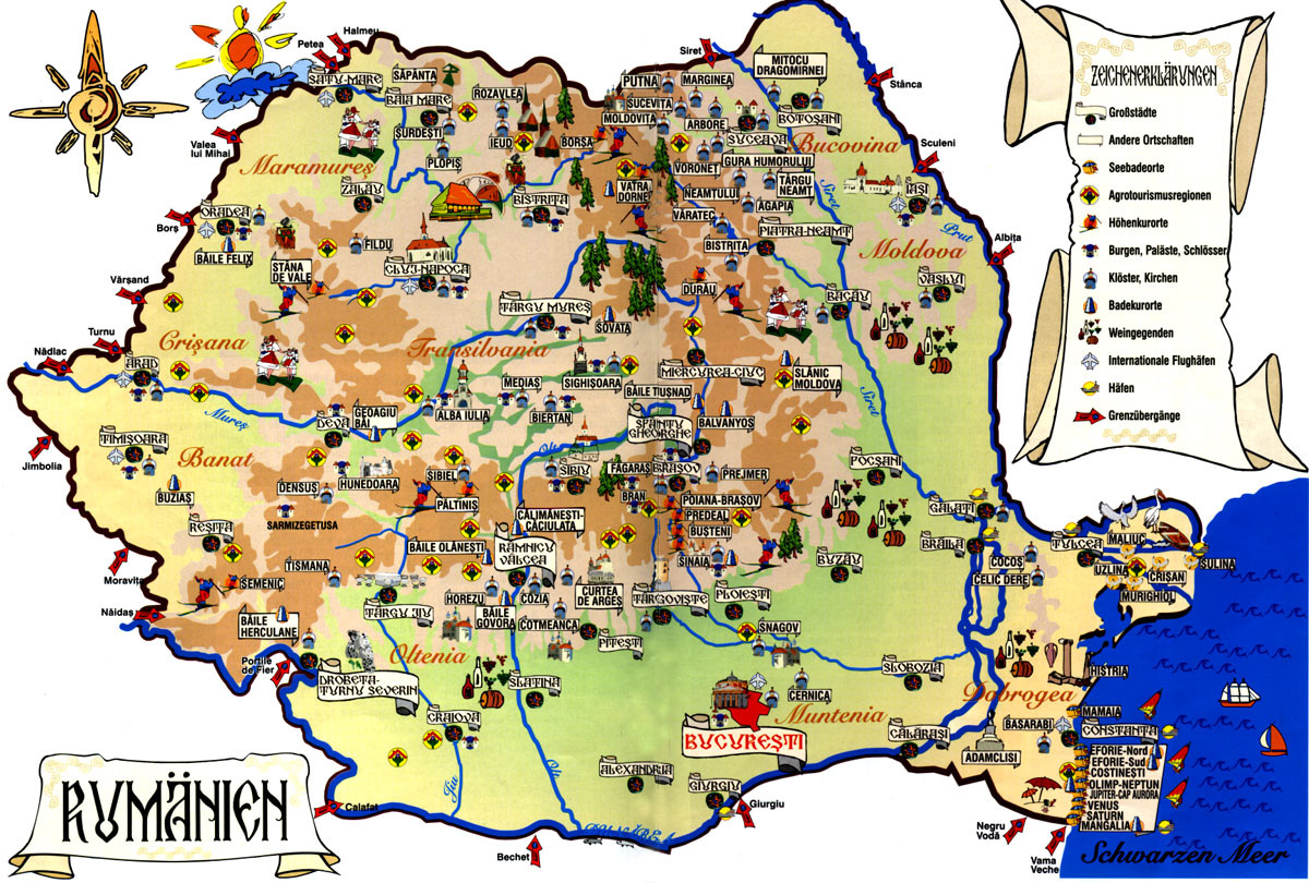 Detailed Tourist Map Of Romania Romania Detailed Tourist Map