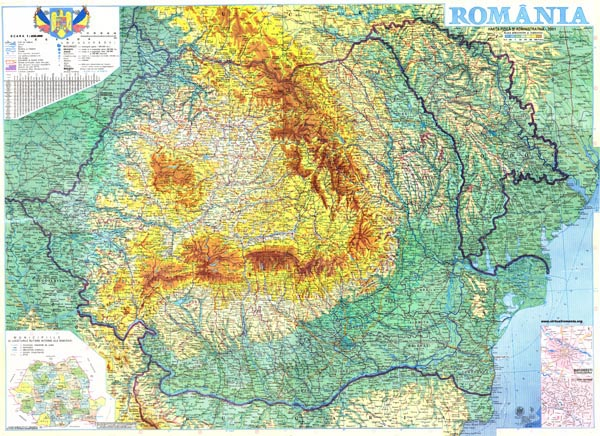 Large detailed physical map of Romania. Romania large detailed physical map.