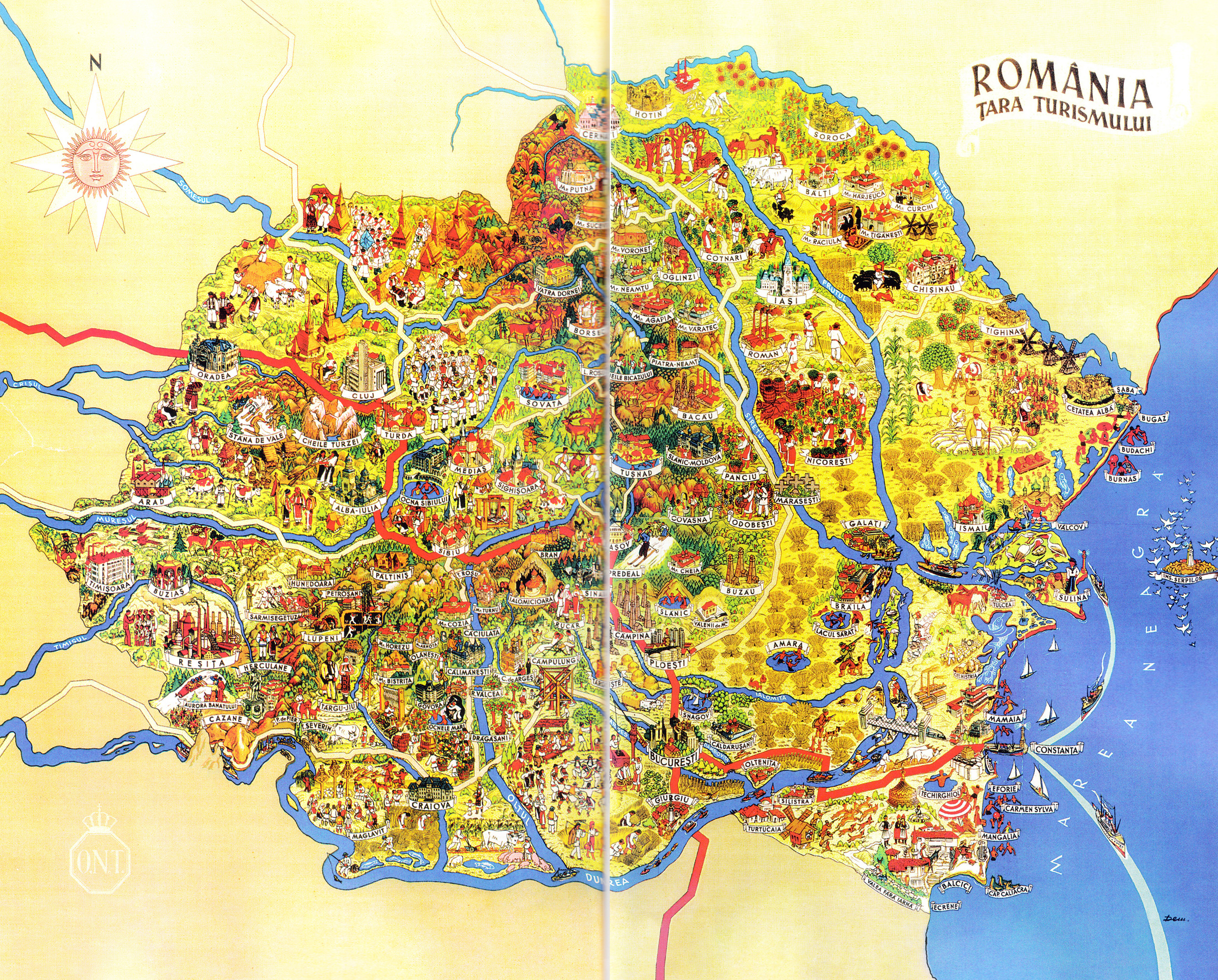 Large detailed tourist illustrated map of Romania Vidianicom
