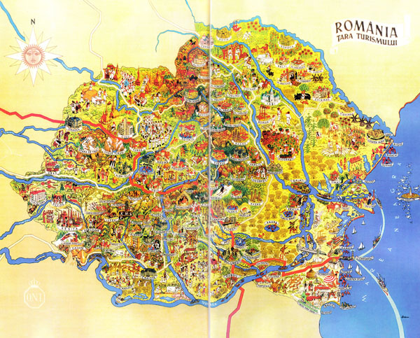 Large detailed tourist illustrated map of Romania.