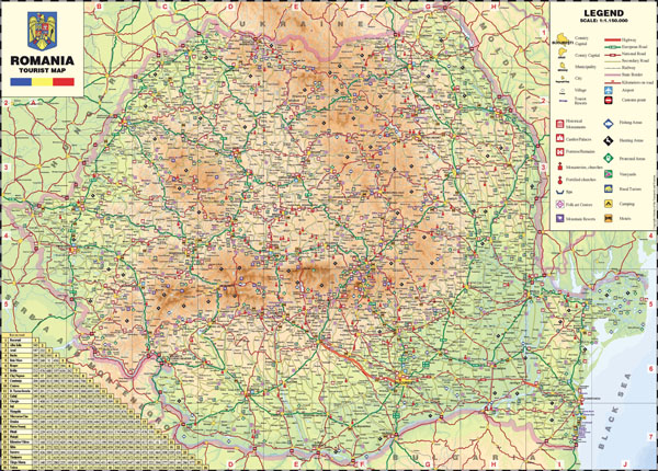 Large detailed tourist map of Romania.