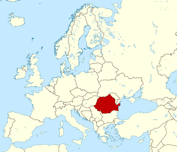 Large location map of Romania. Romania large location map.