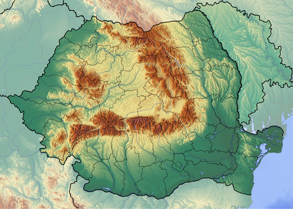 Large topographical map of Romania.