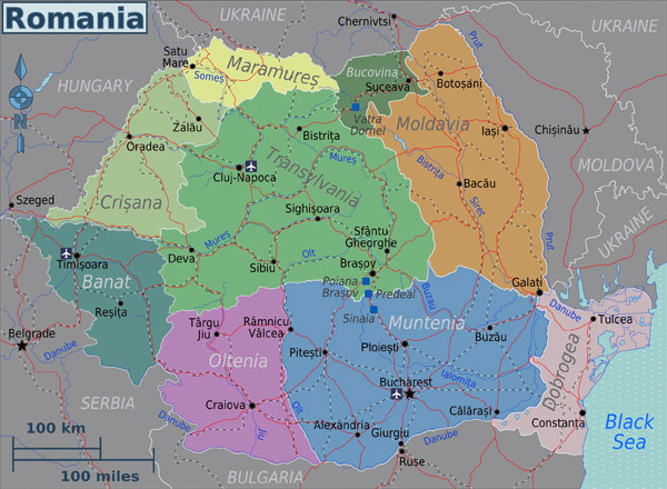 Political map of Romania. Romania political map.
