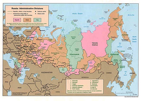 Administrative map of Russia. Russia administrative map.
