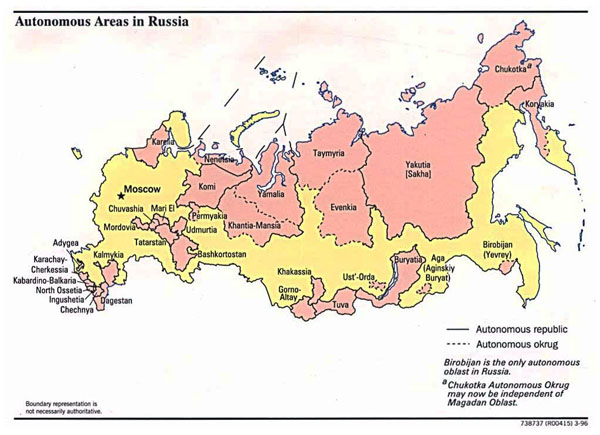 Detailed map of autonomus areas map in Russia - 1996.