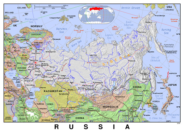 Detailed political map of Russia with relief.