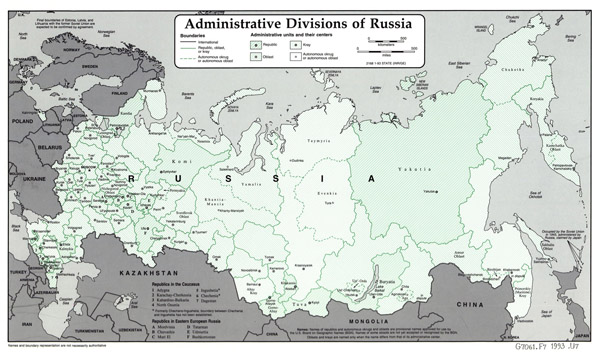 Large administrative divisions map of Russia - 1993.