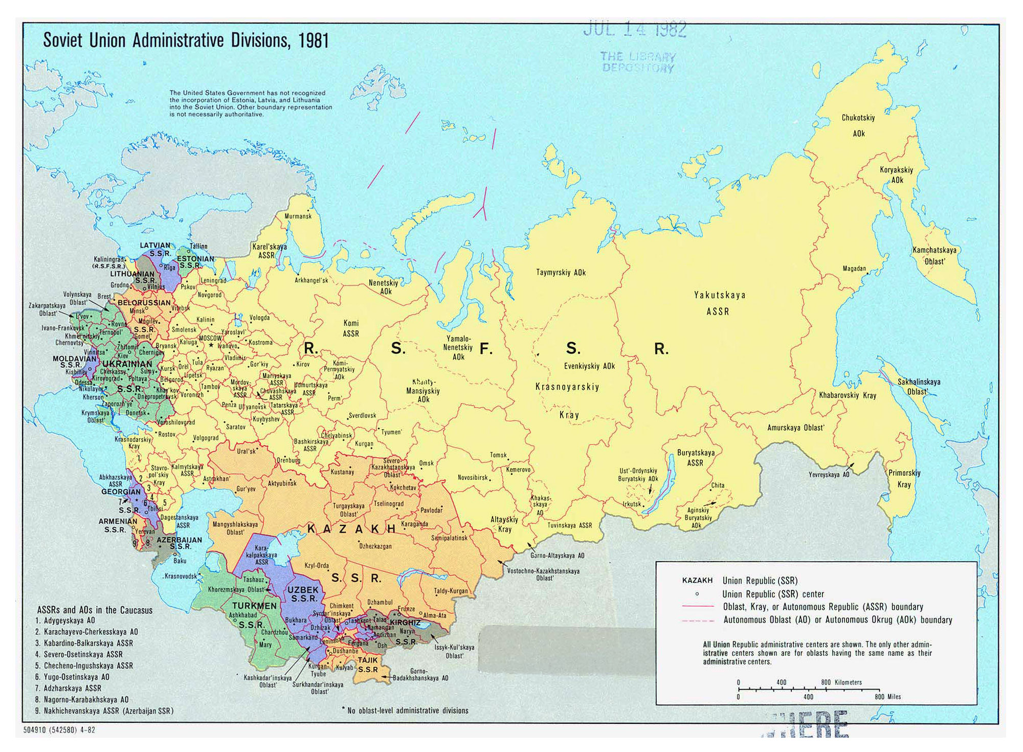 Large detailed administrative divisions map of Soviet Union 1981