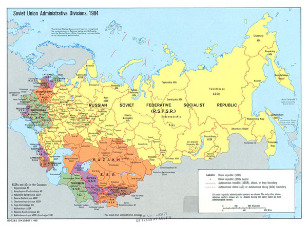 Large detailed administrative divisions map of Soviet Union - 1984.