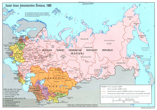 Large detailed administrative divisions map of Soviet Union - 1989.