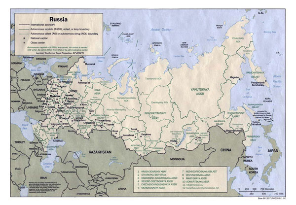 Large detailed administrative divisions map of Russia - 1992.