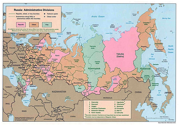 Large detailed administrative divisions map of Russia - 1994.