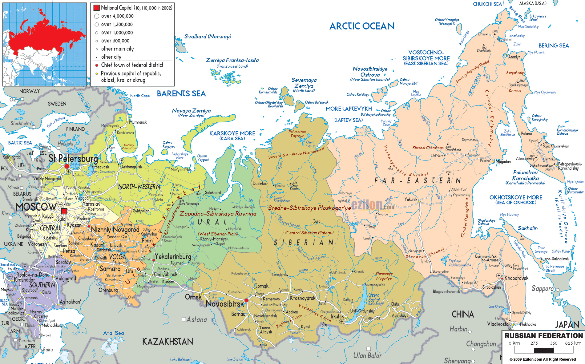 Large Detailed Political And Administrative Map Of Russia With All - Russia administrative map