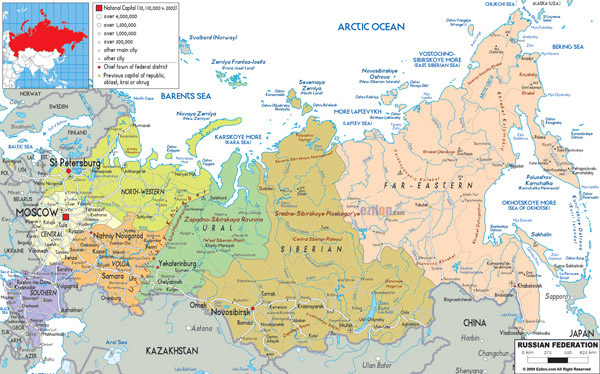 Large detailed political and administrative map of Russia with all roads, cities and airports.