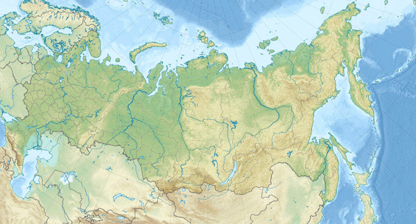 Large detailed relief map of Russia. Russia large detailed relief map.