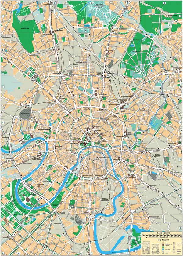 Large detailed road map of Moscow. Moscow large detailed road map.