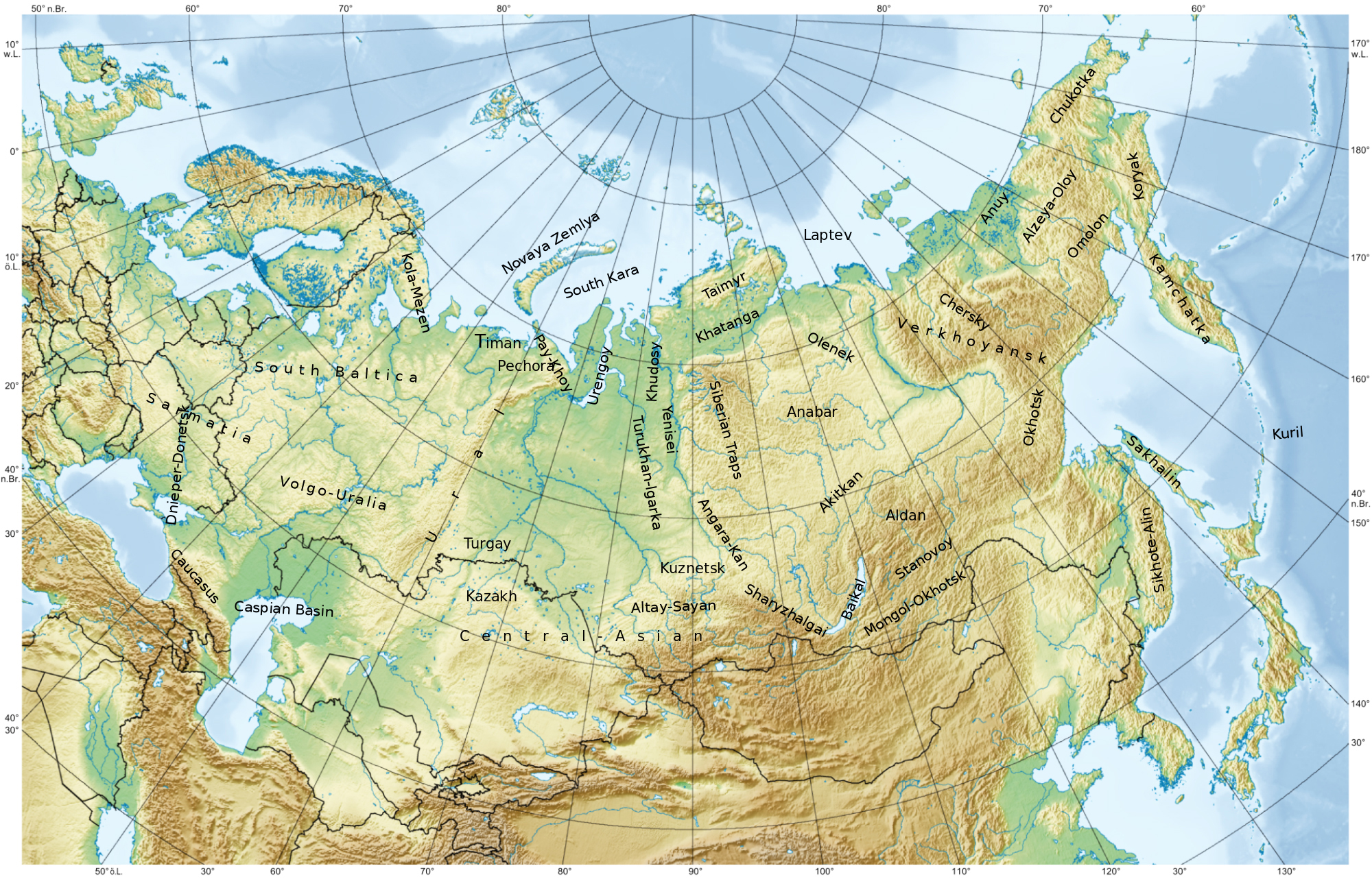 Large Physical Map Of Russia Russia Large Physical Map Vidiani - Physical map of russia