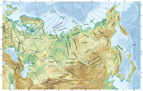 Large physical map of Russia. Russia large physical map.