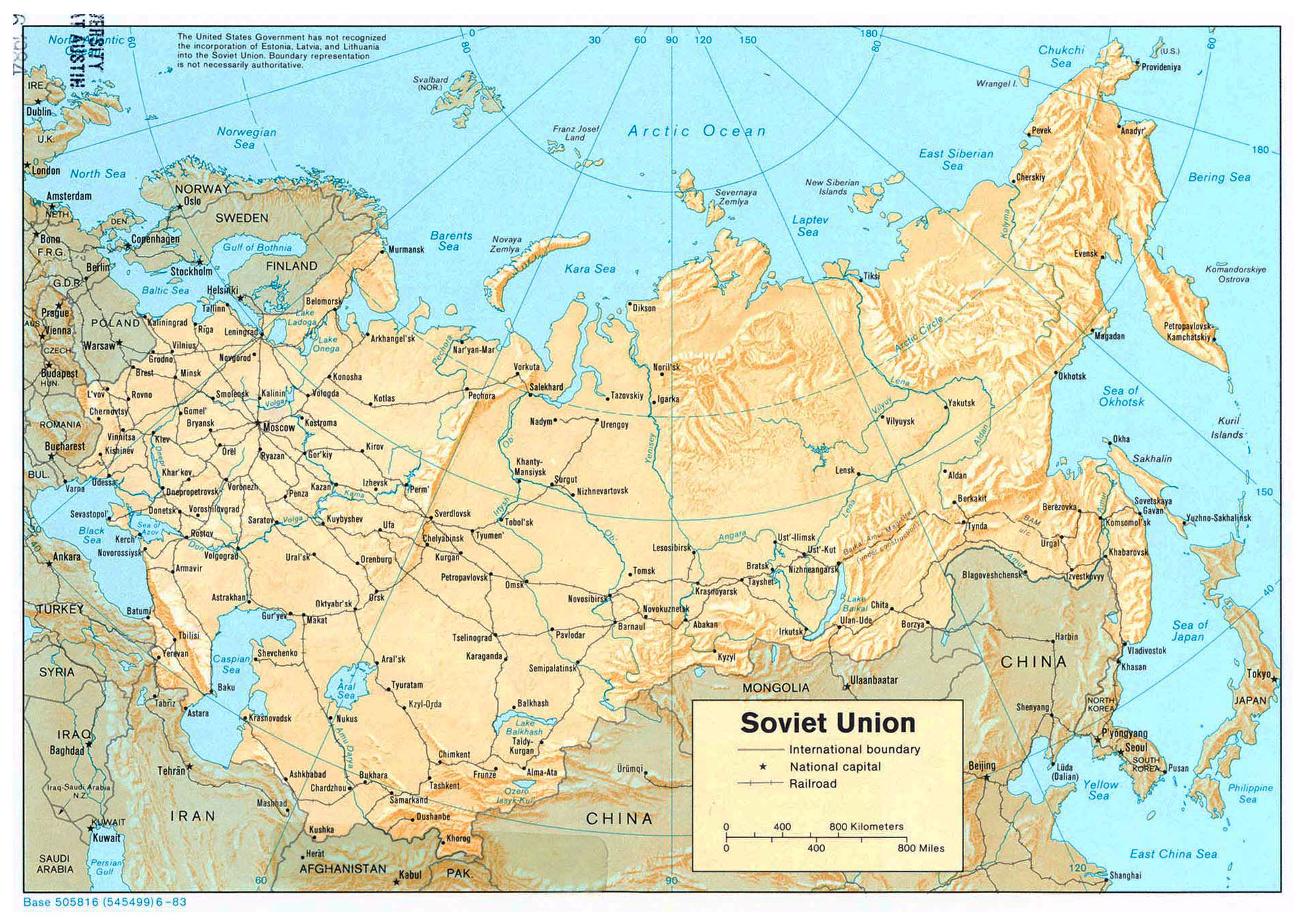 Large political map of Soviet Union with relief railroads and major