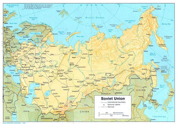 Large political map of Soviet Union with relief, railroads and major cities - 1986.
