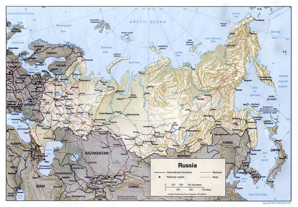 Large political map of Russia with relief, roads, railroads and major cities - 1994.