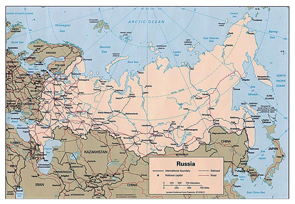 Large political map of Russia with roads, railroads and major cities - 1994.