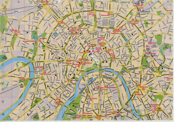 Detailed road map of Moscow city center.