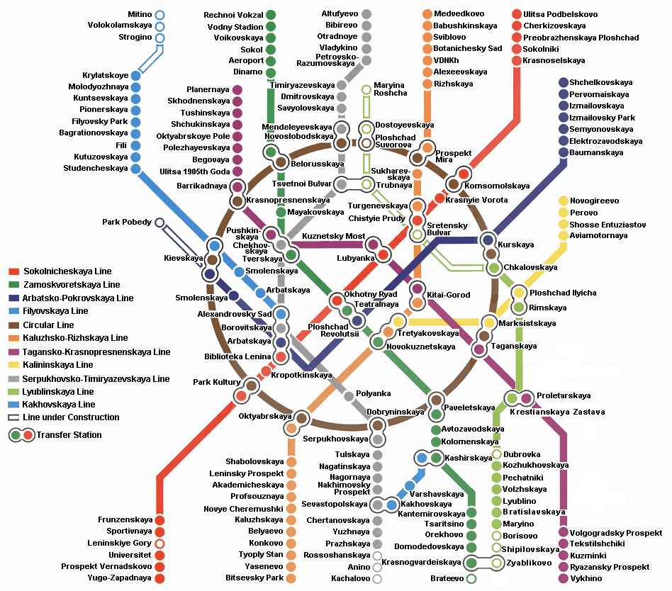 Moscow city metro map large detailed metro map of moscow city