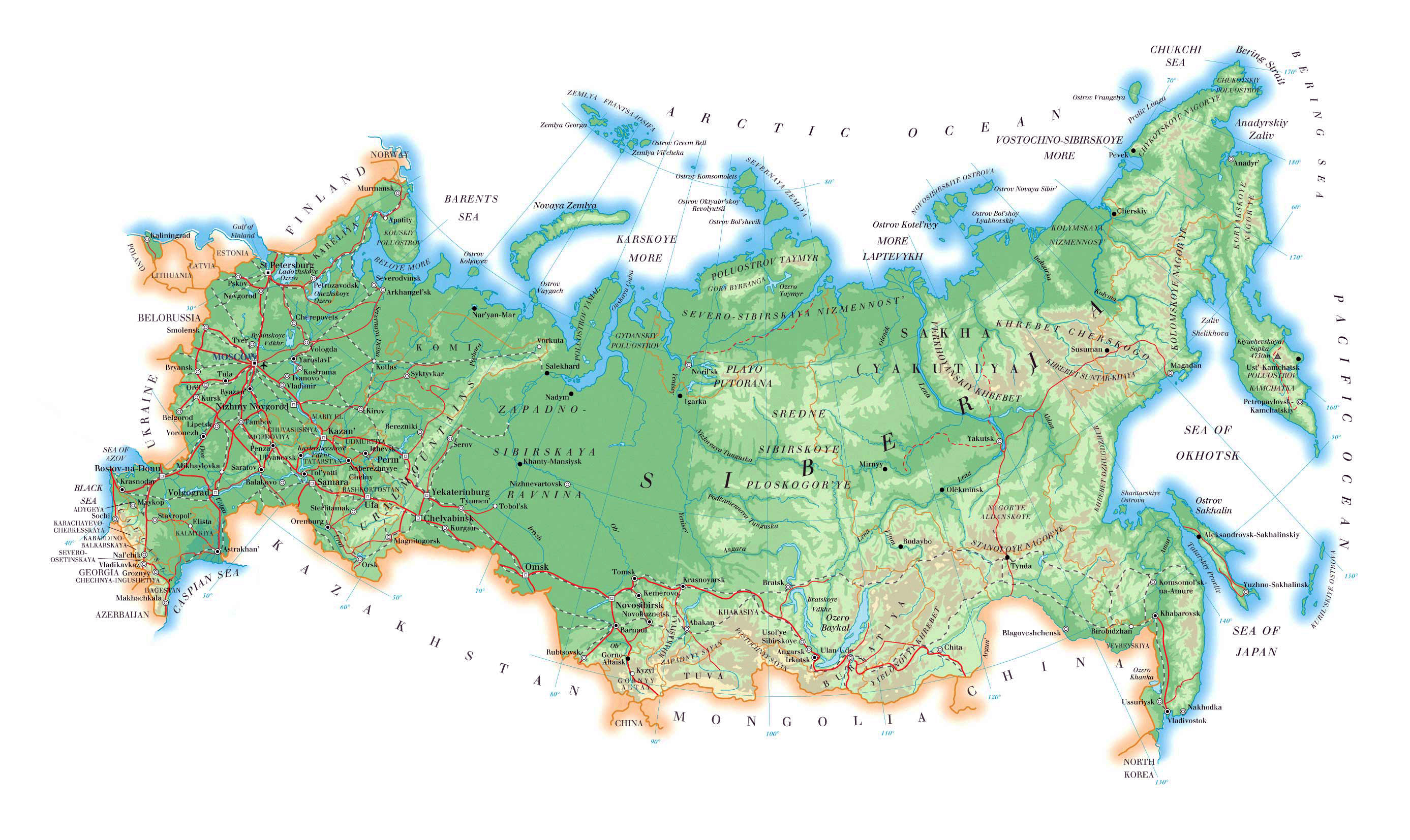 Image of: Physical Map Of Russia Russia Physical Map Vidiani Com Maps Of All Countries In One Place