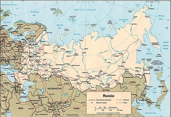 Road map of Russia. Russia road map.